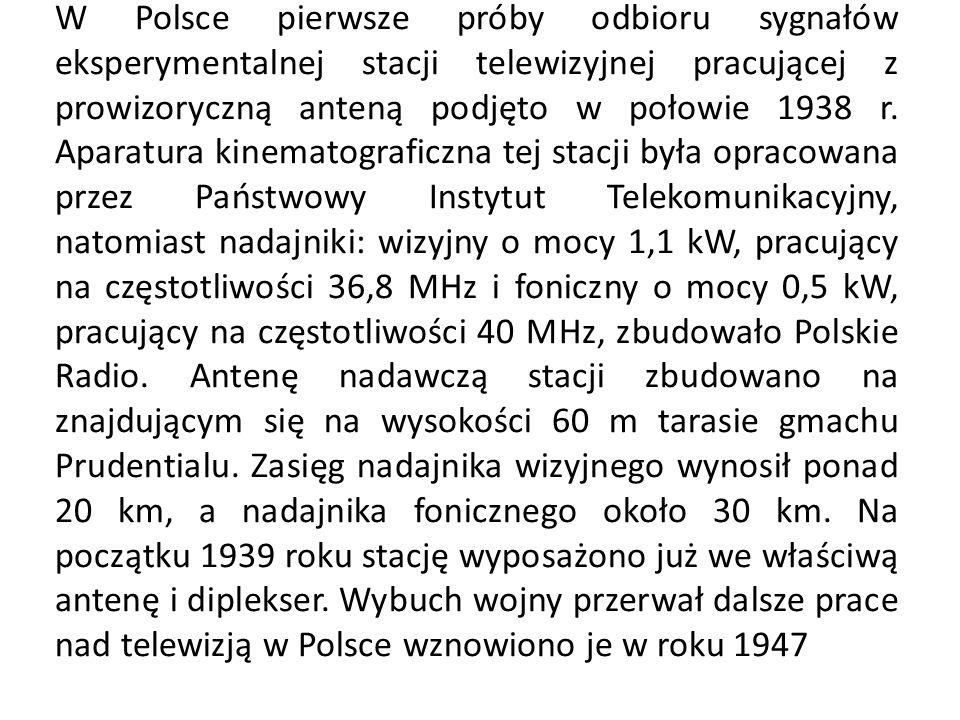 W Polsce pierwsze próby odbioru sygnałów eksperymentalnej stacji telewizyjnej pracującej z prowizoryczną anteną podjęto w połowie 1938 r. Aparatura ki