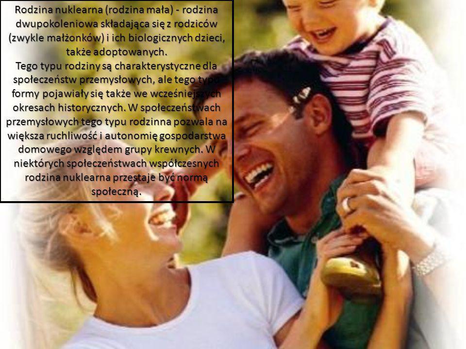 Rodzina nuklearna (rodzina mała) - rodzina dwupokoleniowa składająca się z rodziców (zwykle małżonków) i ich biologicznych dzieci, także adoptowanych.