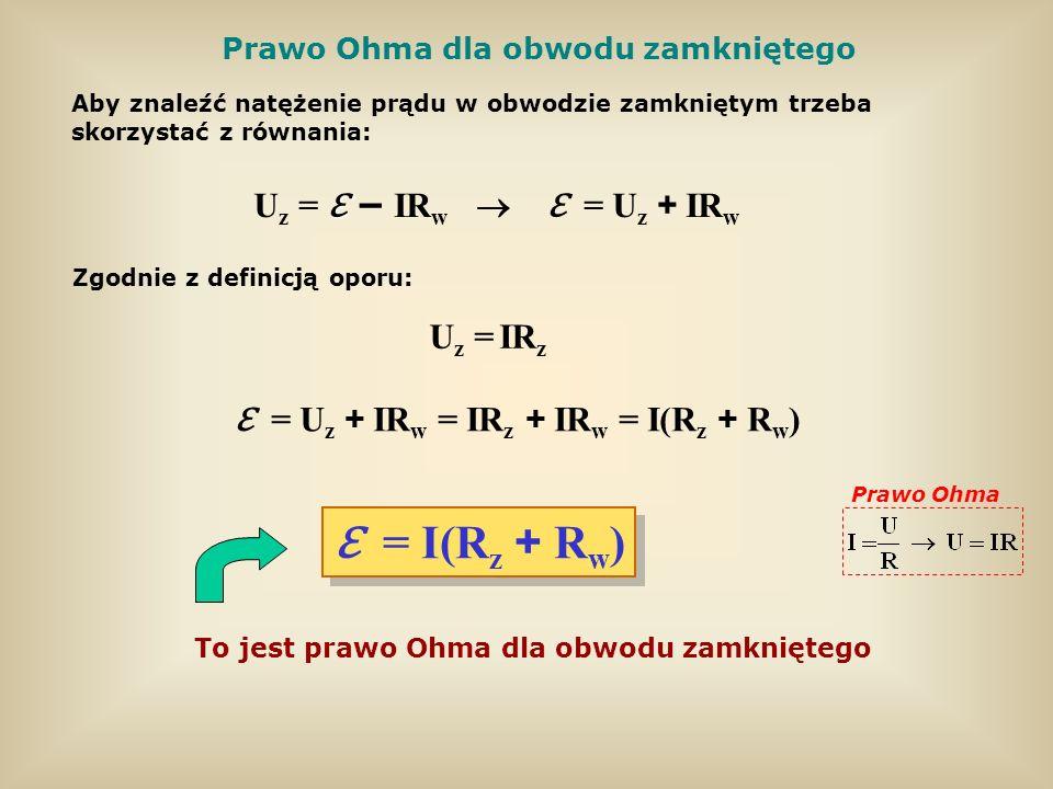 Prawo Ohma dla obwodu zamkniętego U z = IR w = U z + IR w Aby znaleźć natężenie prądu w obwodzie zamkniętym trzeba skorzystać z równania: Zgodnie z de