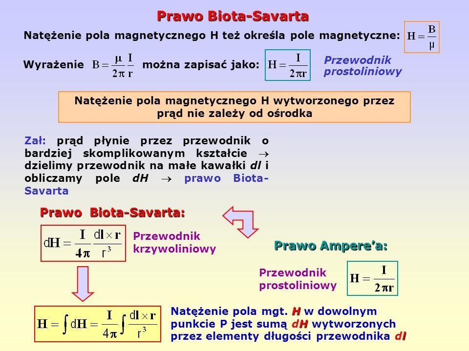 Natężenie pola magnetycznego H też określa pole magnetyczne: Natężenie pola magnetycznego H wytworzonego przez prąd nie zależy od ośrodka Wyrażenie mo
