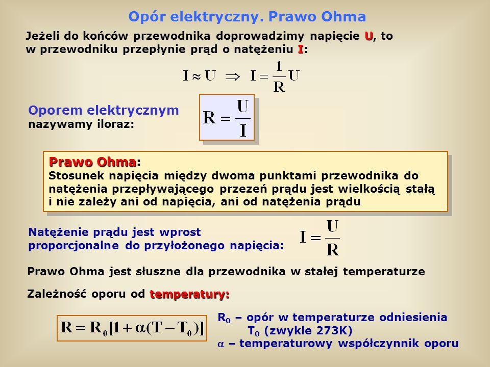 Odstępstwa od prawa Ohma Przewodnik miedziany spełniający prawo Ohma Przewodnik nie spełniający prawa Ohma ( lampa próżniowa 2A3) Element elektroniczny (termistor) nie spełniający prawa Ohma Przy bardzo wielkich gęstościach prądu prawo Ohma może nie być spełnione Elementy elektroniczne: diody, tranzystory, termistory, tyrystory, itp.