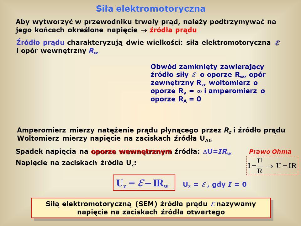 Prawo Ohma dla obwodu zamkniętego U z = IR w = U z + IR w Aby znaleźć natężenie prądu w obwodzie zamkniętym trzeba skorzystać z równania: Zgodnie z definicją oporu: U z = IR z = U z + IR w = IR z + IR w = I(R z + R w ) = I(R z + R w ) To jest prawo Ohma dla obwodu zamkniętego Prawo Ohma