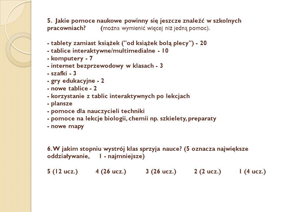 5. Jakie pomoce naukowe powinny się jeszcze znaleźć w szkolnych pracowniach? (można wymienić więcej niż jedną pomoc). - tablety zamiast książek (