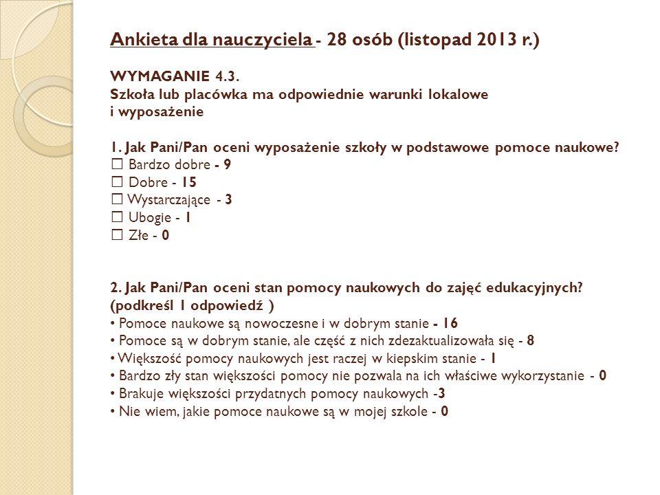 Ankieta dla nauczyciela - 28 osób (listopad 2013 r.) WYMAGANIE 4.3. Szkoła lub placówka ma odpowiednie warunki lokalowe i wyposażenie 1. Jak Pani/Pan