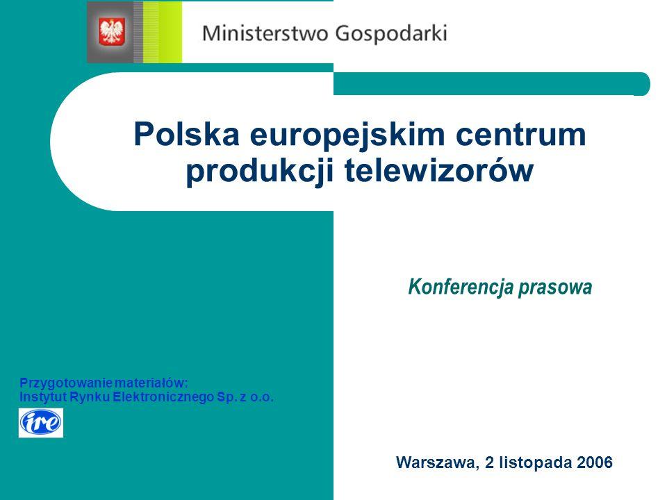 Producenci telewizorów w Unii Europejskiej Ponad 30 producentów w 11 krajach: Belgia Czechy Francja Hiszpania Holandia Niemcy POLSKA Słowacja Węgry Wielka Brytania Włochy
