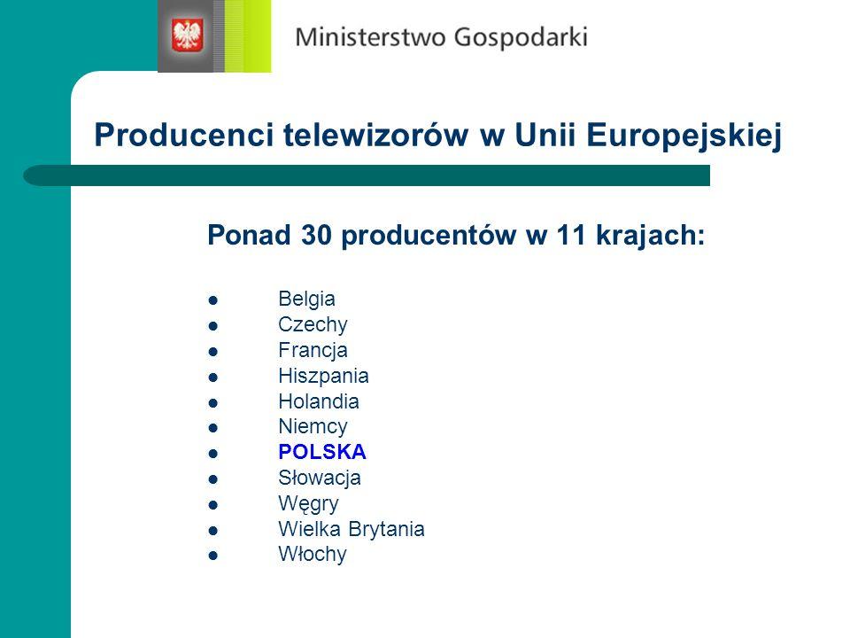 Producenci telewizorów w Unii Europejskiej Ponad 30 producentów w 11 krajach: Belgia Czechy Francja Hiszpania Holandia Niemcy POLSKA Słowacja Węgry Wi