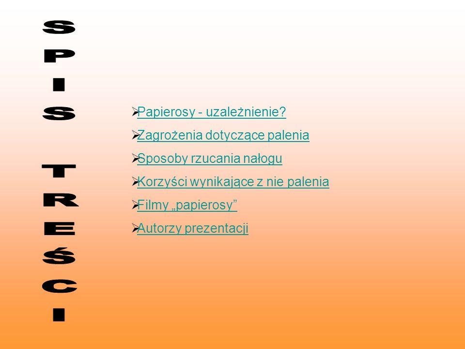 Papierosy - uzależnienie? Zagrożenia dotyczące palenia Sposoby rzucania nałogu Korzyści wynikające z nie palenia Filmy papierosy Autorzy prezentacji