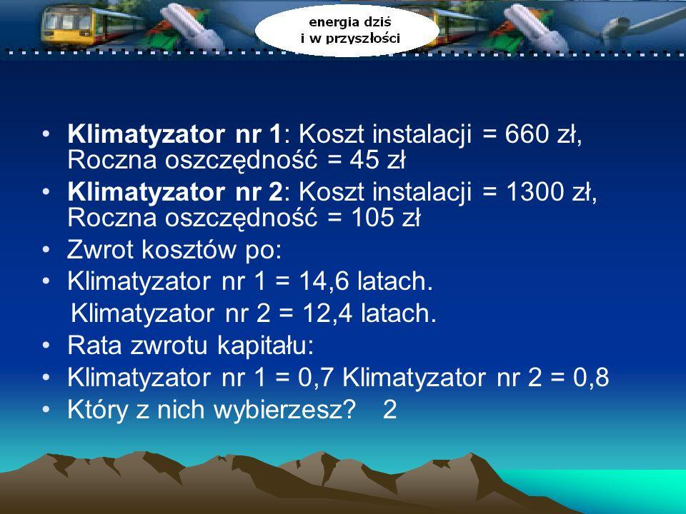 Klimatyzator nr 1: Koszt instalacji = 660 zł, Roczna oszczędność = 45 zł Klimatyzator nr 2: Koszt instalacji = 1300 zł, Roczna oszczędność = 105 zł Zwrot kosztów po: Klimatyzator nr 1 = 14,6 latach.