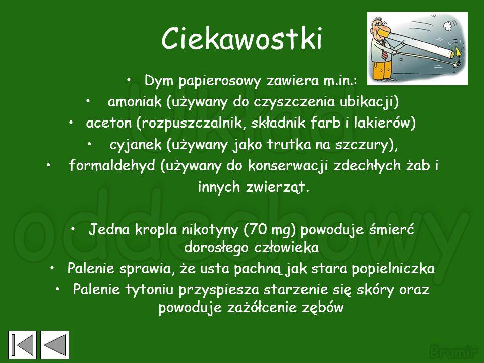 Ciekawostki Dym papierosowy zawiera m.in.: amoniak (używany do czyszczenia ubikacji) aceton (rozpuszczalnik, składnik farb i lakierów) cyjanek (używany jako trutka na szczury), formaldehyd (używany do konserwacji zdechłych żab i innych zwierząt.