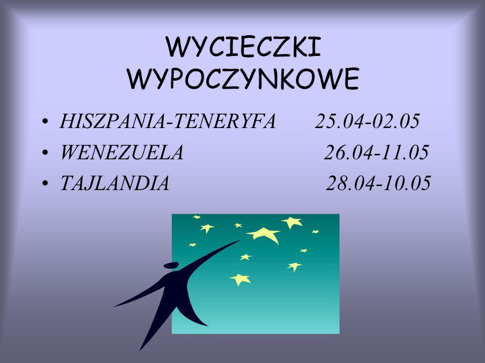 WYCIECZKI WYPOCZYNKOWE HISZPANIA-TENERYFA 25.04-02.05 WENEZUELA 26.04-11.05 TAJLANDIA 28.04-10.05
