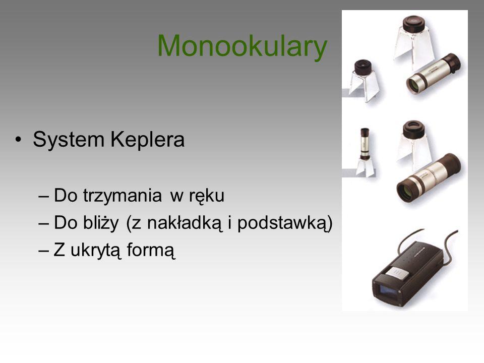 Monookulary System Keplera –Do trzymania w ręku –Do bliży (z nakładką i podstawką) –Z ukrytą formą