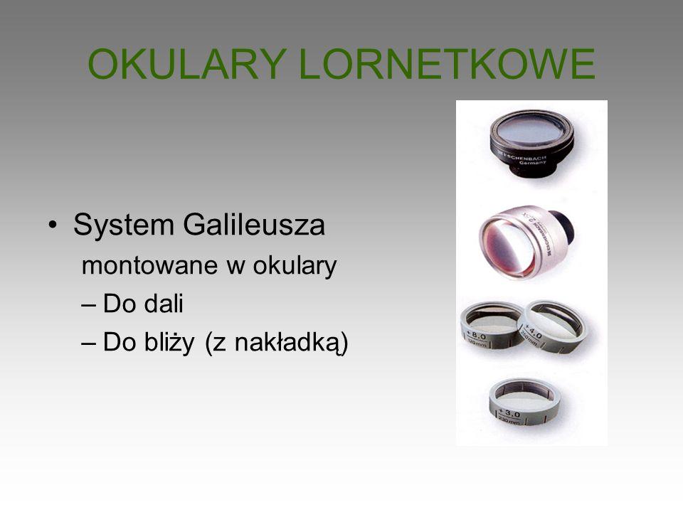 OKULARY LORNETKOWE System Galileusza montowane w okulary –Do dali –Do bliży (z nakładką)
