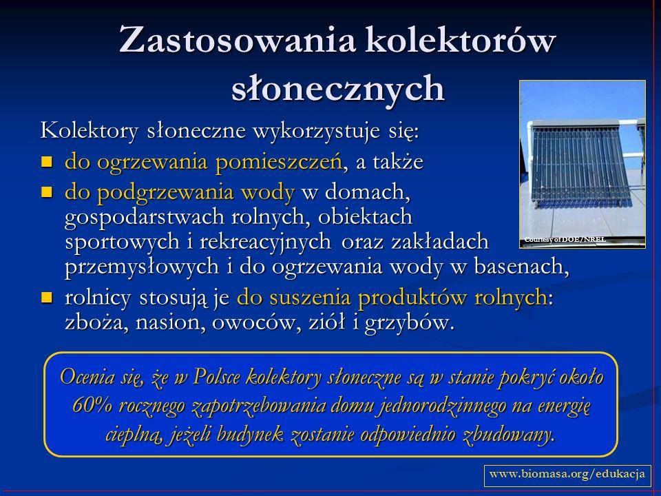 Zastosowania kolektorów słonecznych Kolektory słoneczne wykorzystuje się: do ogrzewania pomieszczeń, a także do ogrzewania pomieszczeń, a także do pod