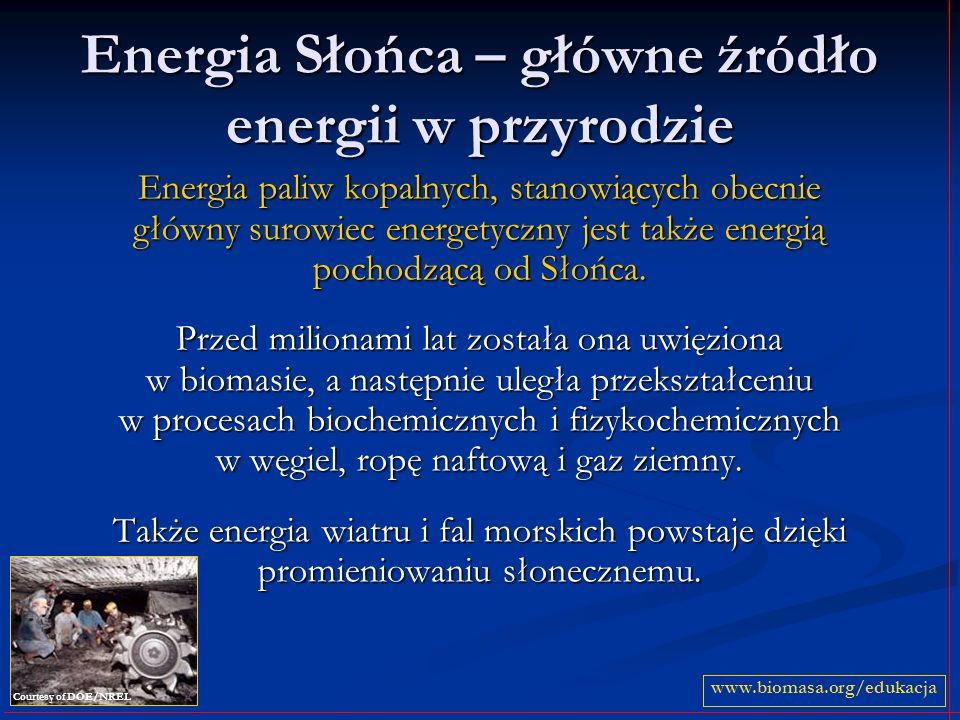 Energia Słońca – główne źródło energii w przyrodzie Energia paliw kopalnych, stanowiących obecnie główny surowiec energetyczny jest także energią poch