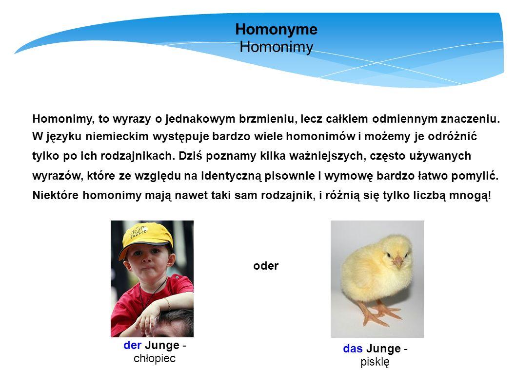 Homonyme Homonimy Homonimy, to wyrazy o jednakowym brzmieniu, lecz całkiem odmiennym znaczeniu. W języku niemieckim występuje bardzo wiele homonimów i