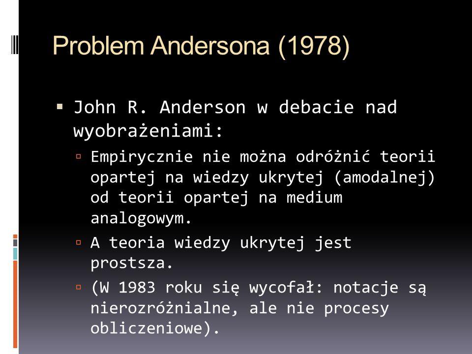 Problem Andersona (1978) John R. Anderson w debacie nad wyobrażeniami: Empirycznie nie można odróżnić teorii opartej na wiedzy ukrytej (amodalnej) od