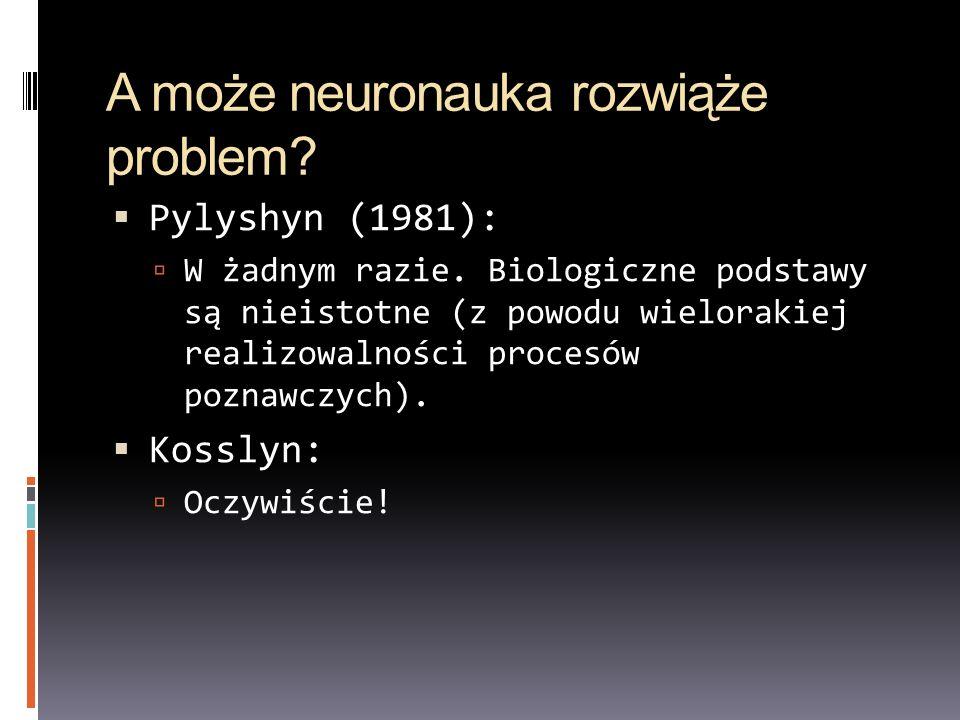 A może neuronauka rozwiąże problem? Pylyshyn (1981): W żadnym razie. Biologiczne podstawy są nieistotne (z powodu wielorakiej realizowalności procesów
