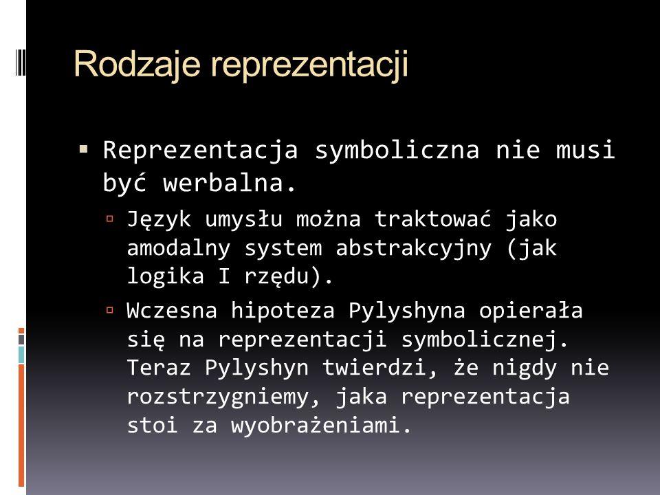 Rodzaje reprezentacji Reprezentacja symboliczna nie musi być werbalna. Język umysłu można traktować jako amodalny system abstrakcyjny (jak logika I rz