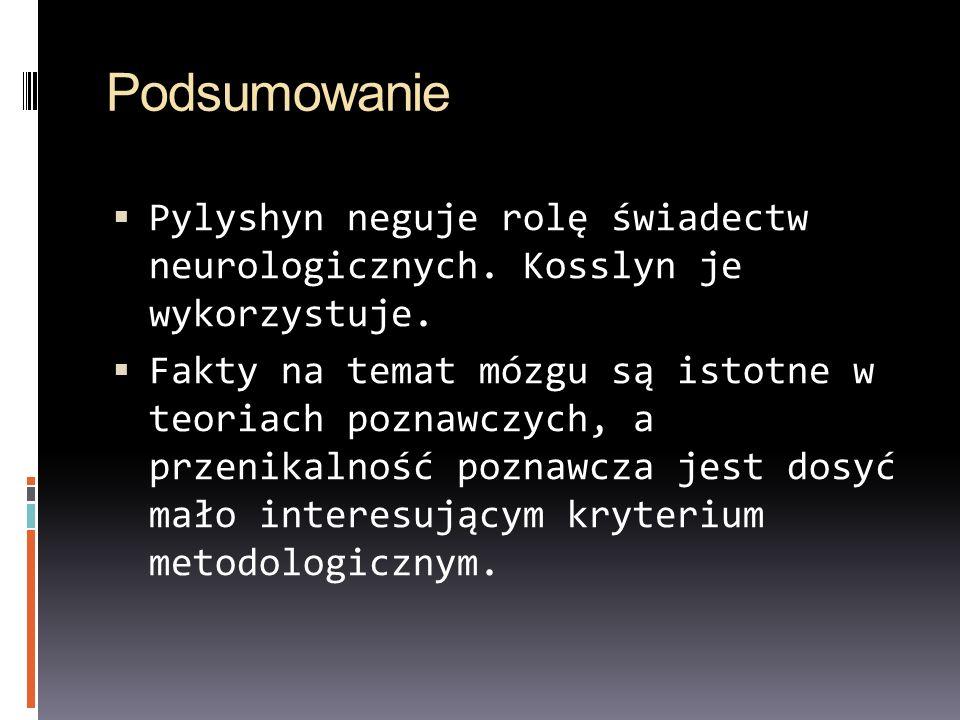 Podsumowanie Pylyshyn neguje rolę świadectw neurologicznych. Kosslyn je wykorzystuje. Fakty na temat mózgu są istotne w teoriach poznawczych, a przeni