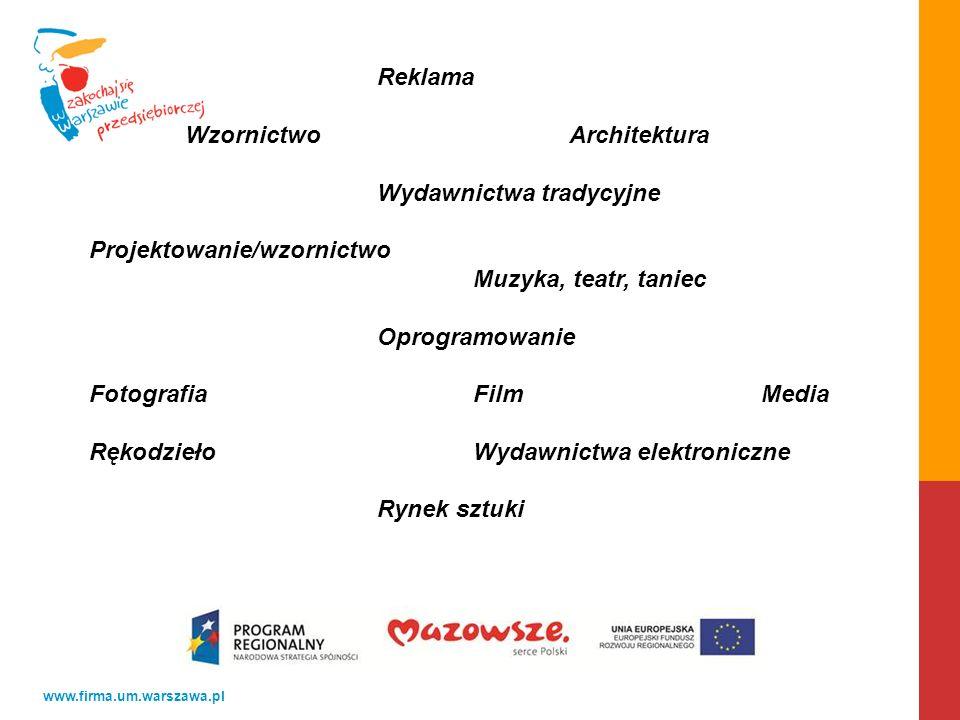 www.firma.um.warszawa.pl Reklama WzornictwoArchitektura Wydawnictwa tradycyjne Projektowanie/wzornictwo Muzyka, teatr, taniec Oprogramowanie FotografiaFilmMedia RękodziełoWydawnictwa elektroniczne Rynek sztuki