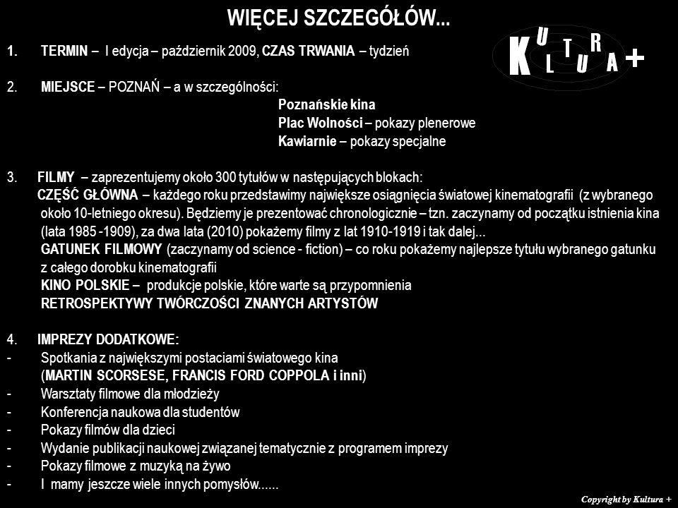 WIĘCEJ SZCZEGÓŁÓW... 1.TERMIN – I edycja – październik 2009, CZAS TRWANIA – tydzień 2.