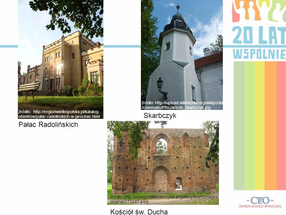 Pałac Radolińskich Skarbczyk Kościół św. Ducha źródło: http://upload.wikimedia.org/wikipedia /commons/f/fe/Jarocin_skarbczyk.jpg źródło: http://region