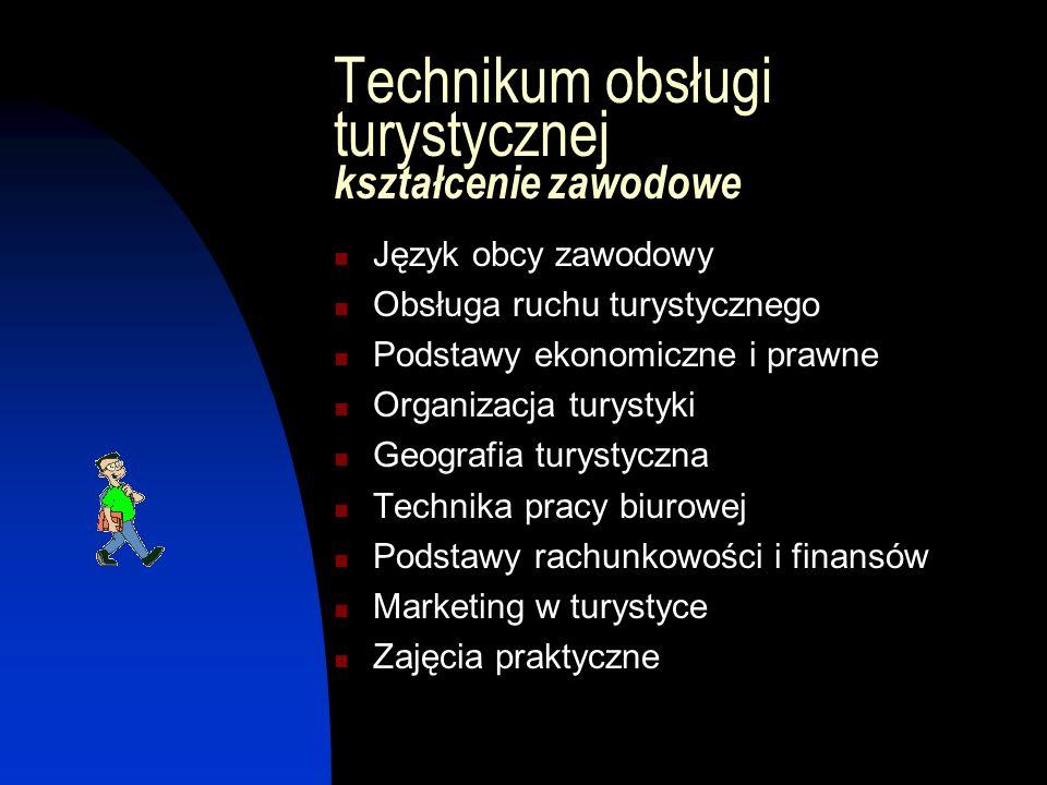 Technikum obsługi turystycznej kształcenie zawodowe Język obcy zawodowy Obsługa ruchu turystycznego Podstawy ekonomiczne i prawne Organizacja turystyk