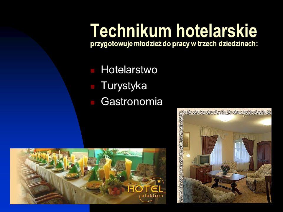 Umiejętności zawodowe technika hotelarstwa Fachowe i kompleksowe obsługiwanie gościa hotelowego Biegłe posługiwanie się językiem obcym w zakresie słownictwa zawodowego i branżowego Organizowanie pracy w zakładzie hotelarskim Organizowanie usług gastronomicznych i obsługi konsumenta Organizowanie i obsługiwanie kongresów, targów, zjazdów i innych imprez Organizowanie usług turystycznych i rekreacyjnych Wyposażanie i urządzanie wnętrza różnych jednostek hotelowych i gastronomicznych