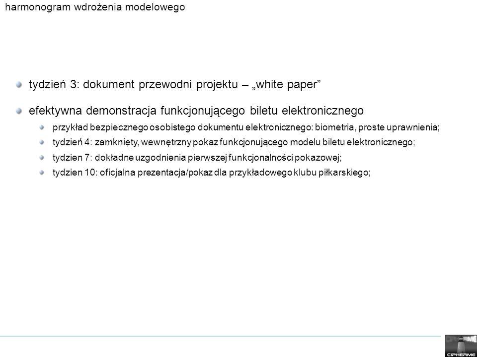 harmonogram wdrożenia modelowego tydzień 3: dokument przewodni projektu – white paper efektywna demonstracja funkcjonującego biletu elektronicznego przykład bezpiecznego osobistego dokumentu elektronicznego: biometria, proste uprawnienia; tydzień 4: zamknięty, wewnętrzny pokaz funkcjonującego modelu biletu elektronicznego; tydzien 7: dokładne uzgodnienia pierwszej funkcjonalności pokazowej; tydzien 10: oficjalna prezentacja/pokaz dla przykładowego klubu piłkarskiego;