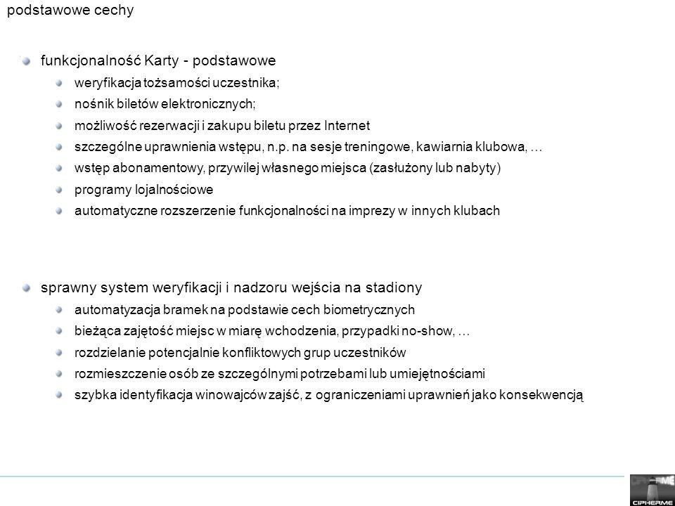 podstawowe cechy funkcjonalność Karty - podstawowe weryfikacja tożsamości uczestnika; nośnik biletów elektronicznych; możliwość rezerwacji i zakupu biletu przez Internet szczególne uprawnienia wstępu, n.p.