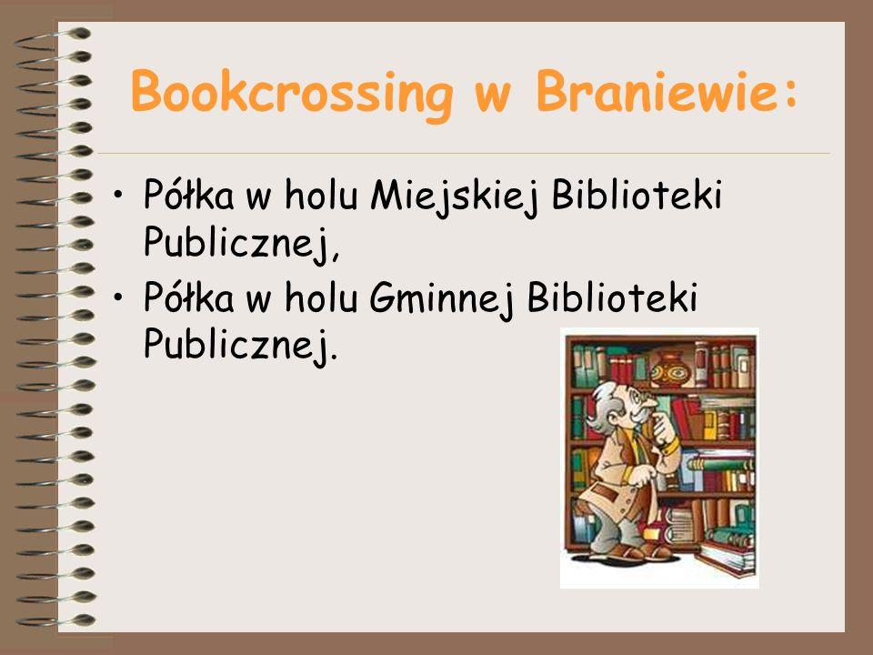 Bookcrossing w Braniewie: Półka w holu Miejskiej Biblioteki Publicznej, Półka w holu Gminnej Biblioteki Publicznej.