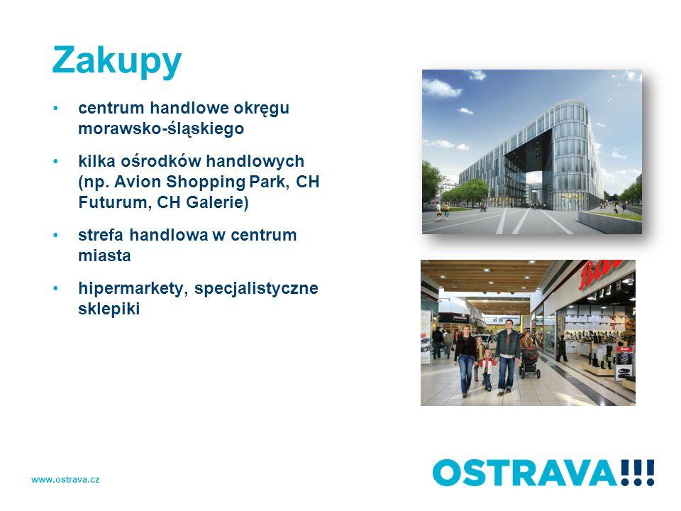 Zakupy centrum handlowe okręgu morawsko-śląskiego kilka ośrodków handlowych (np. Avion Shopping Park, CH Futurum, CH Galerie) strefa handlowa w centru