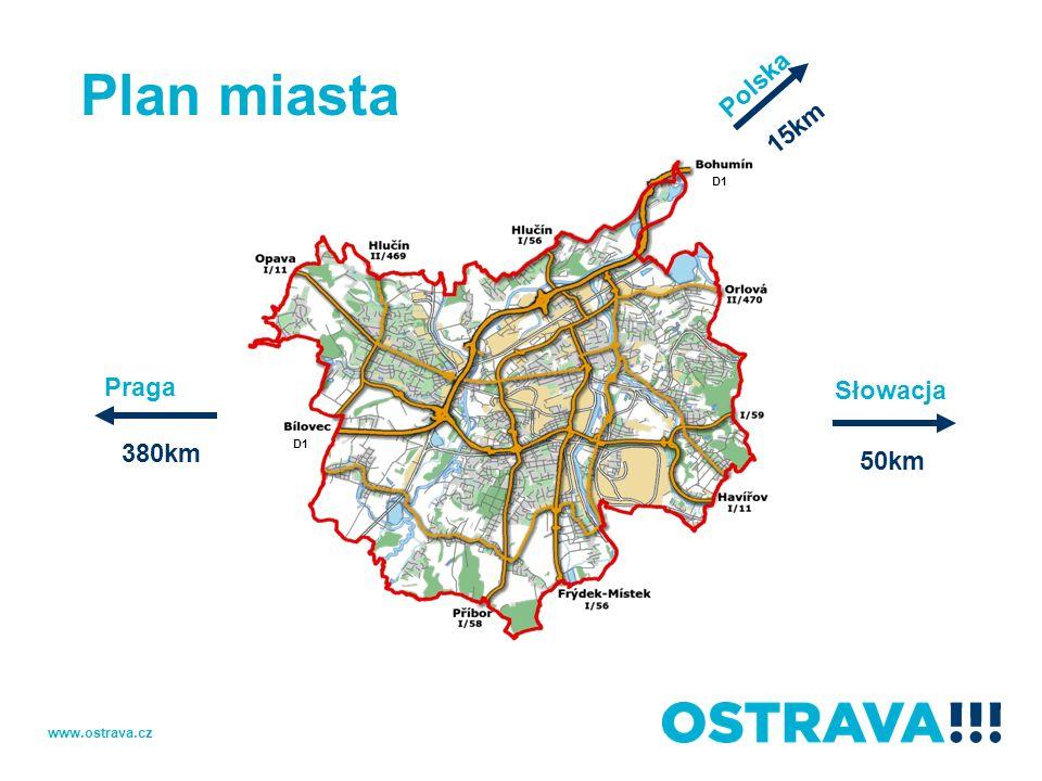Plan miasta Praga 380km Słowacja 50km 15km Polska D1 www.ostrava.cz