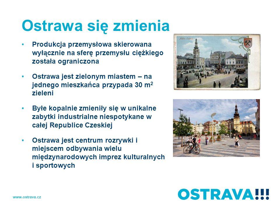 Ostrawa się zmienia Produkcja przemysłowa skierowana wyłącznie na sferę przemysłu ciężkiego została ograniczona Ostrawa jest zielonym miastem – na jed
