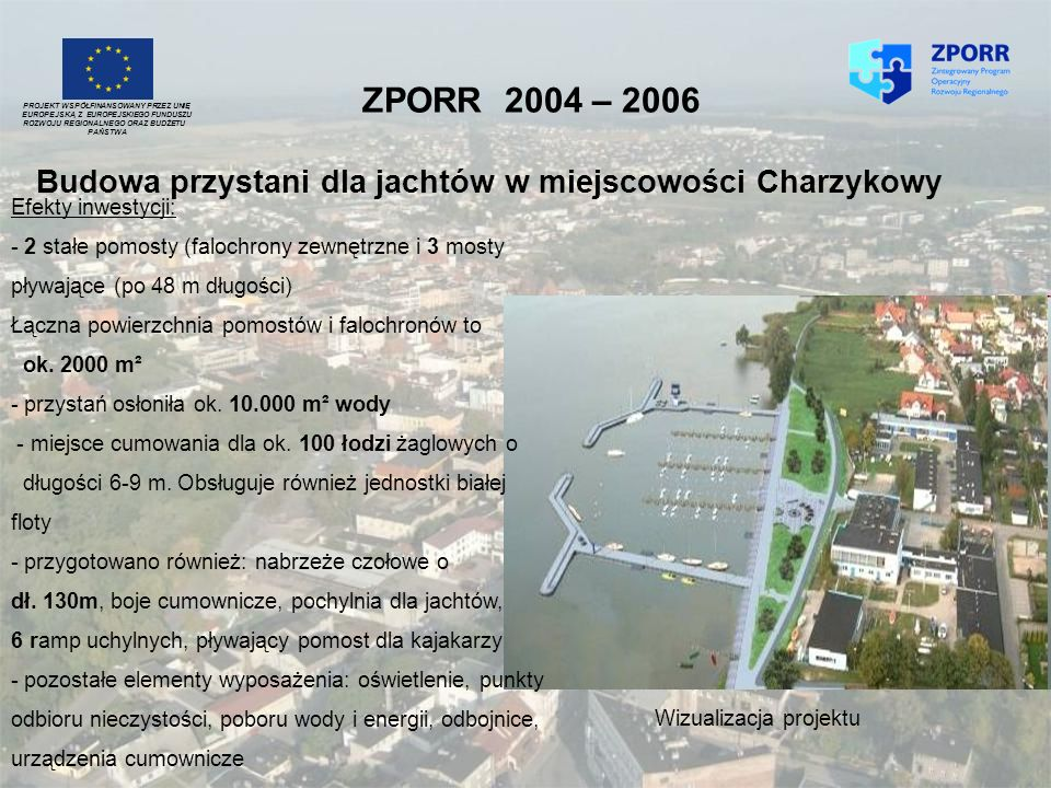 ZPORR 2004 – 2006 Budowa przystani dla jachtów w miejscowości Charzykowy PROJEKT WSPÓŁFINANSOWANY PRZEZ UNIĘ EUROPEJSKĄ Z EUROPEJSKIEGO FUNDUSZU ROZWO