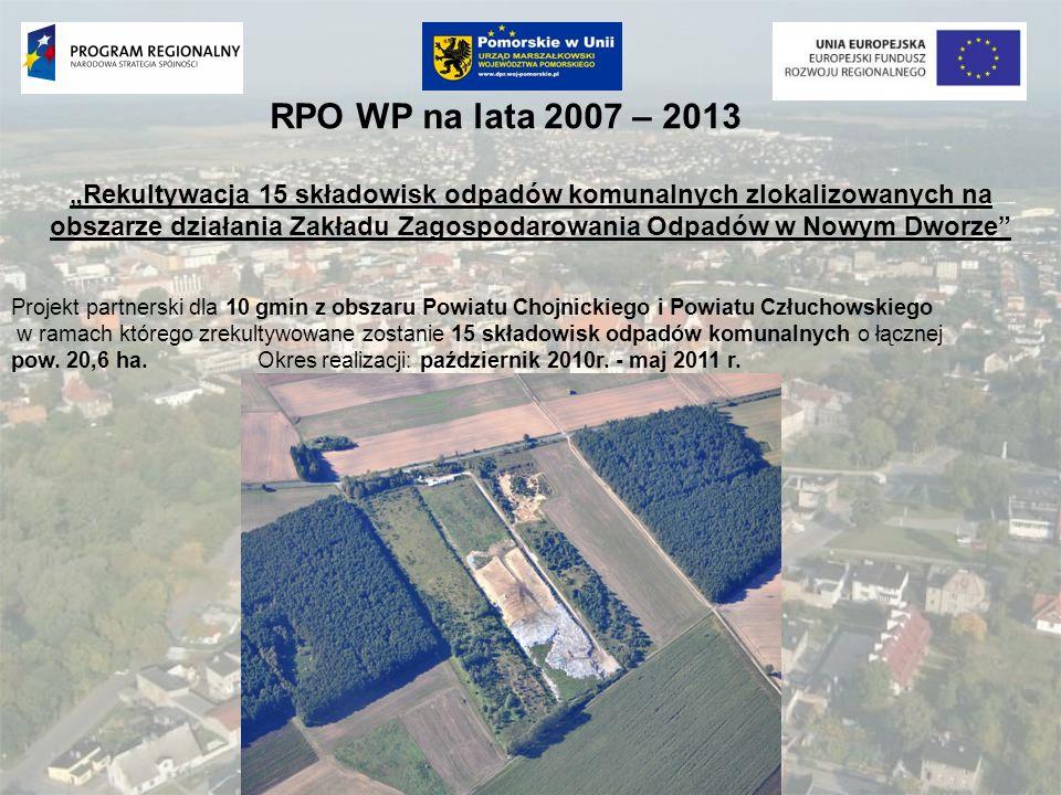 RPO WP na lata 2007 – 2013 Rekultywacja 15 składowisk odpadów komunalnych zlokalizowanych na obszarze działania Zakładu Zagospodarowania Odpadów w Now