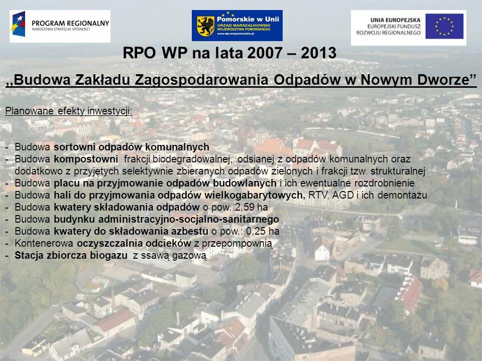 RPO WP na lata 2007 – 2013,,Budowa Zakładu Zagospodarowania Odpadów w Nowym Dworze Planowane efekty inwestycji: -Budowa sortowni odpadów komunalnych -