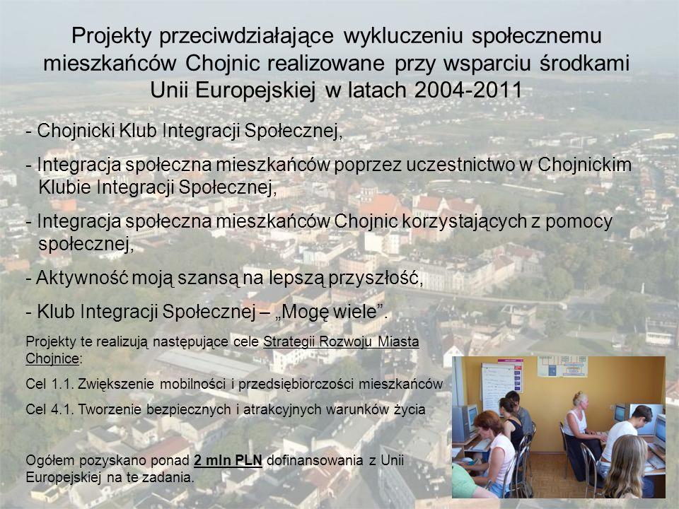 Projekty przeciwdziałające wykluczeniu społecznemu mieszkańców Chojnic realizowane przy wsparciu środkami Unii Europejskiej w latach 2004-2011 - Chojn