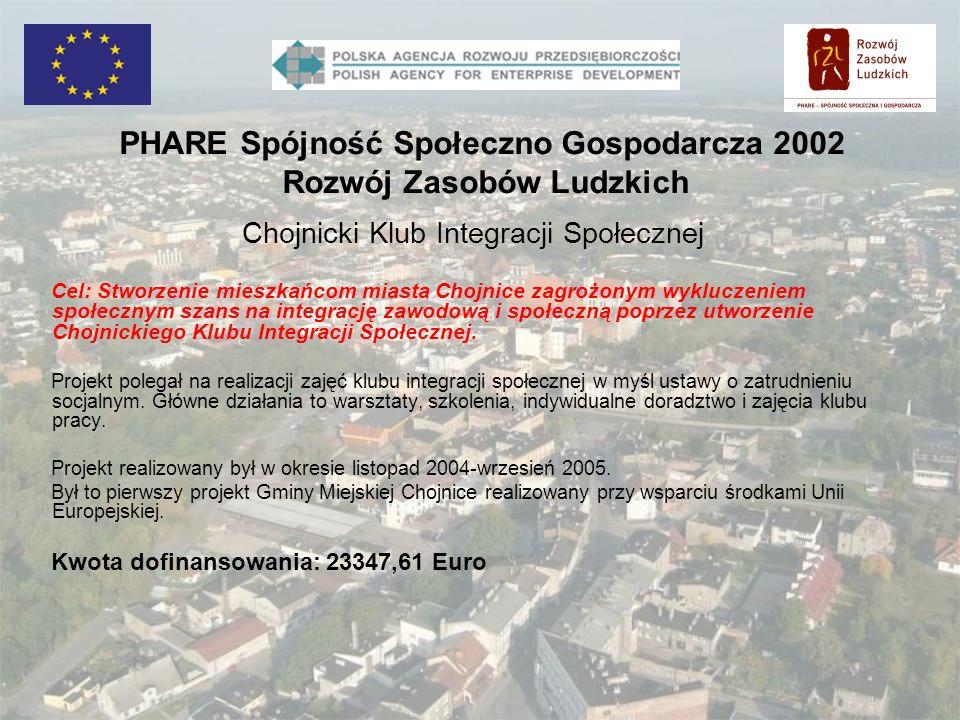 Chojnicki Klub Integracji Społecznej Cel: Stworzenie mieszkańcom miasta Chojnice zagrożonym wykluczeniem społecznym szans na integrację zawodową i spo