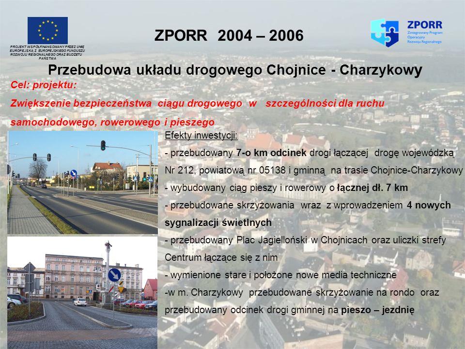 ZPORR 2004 – 2006 Przebudowa układu drogowego Chojnice - Charzykow y PROJEKT WSPÓŁFINANSOWANY PRZEZ UNIĘ EUROPEJSKĄ Z EUROPEJSKIEGO FUNDUSZU ROZWOJU R