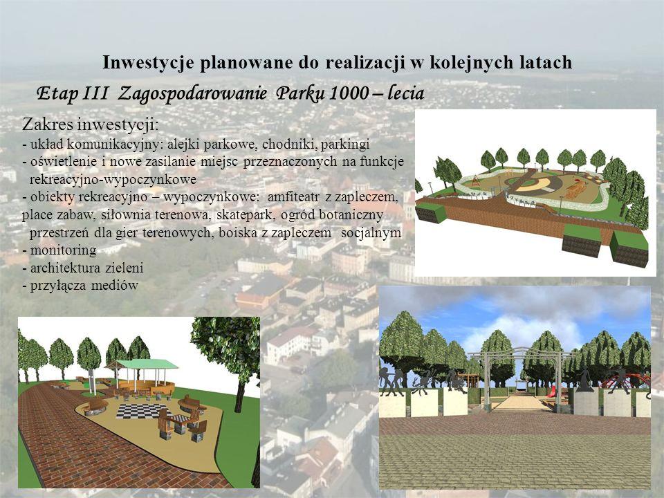 Inwestycje planowane do realizacji w kolejnych latach Etap III Zagospodarowanie Parku 1000 – lecia Zakres inwestycji: - układ komunikacyjny: alejki pa