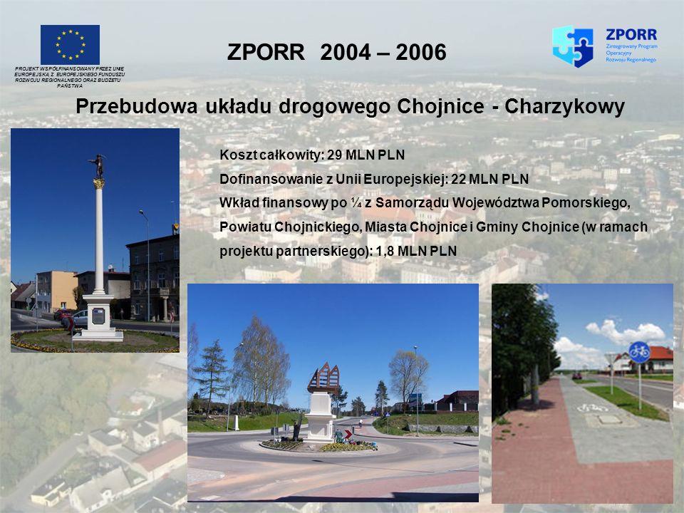 ZPORR 2004 – 2006 Przebudowa układu drogowego Chojnice - Charzykowy PROJEKT WSPÓŁFINANSOWANY PRZEZ UNIĘ EUROPEJSKĄ Z EUROPEJSKIEGO FUNDUSZU ROZWOJU RE