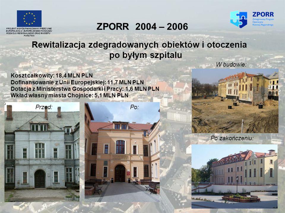 ZPORR 2004 – 2006 Rewitalizacja zdegradowanych obiektów i otoczenia po byłym szpitalu PROJEKT WSPÓŁFINANSOWANY PRZEZ UNIĘ EUROPEJSKĄ Z EUROPEJSKIEGO F