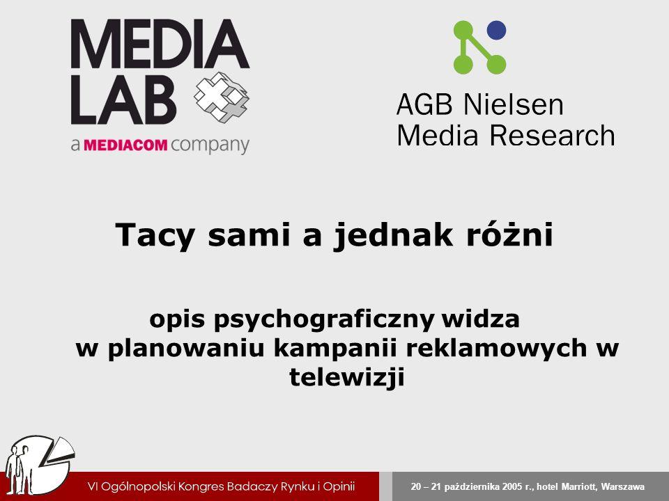 20 – 21 października 2005 r., hotel Marriott, Warszawa Tacy sami a jednak różni opis psychograficzny widza w planowaniu kampanii reklamowych w telewiz