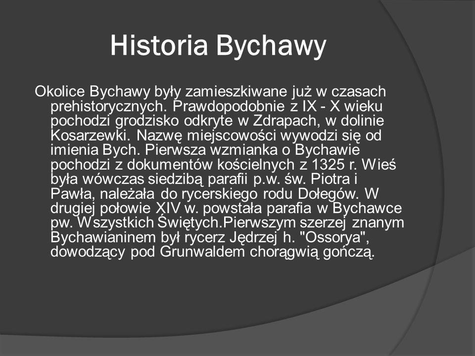 Historia Bychawy Okolice Bychawy były zamieszkiwane już w czasach prehistorycznych. Prawdopodobnie z IX - X wieku pochodzi grodzisko odkryte w Zdrapac
