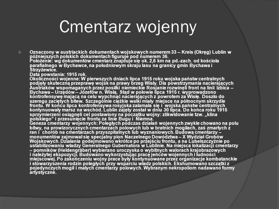 Cmentarz wojenny Oznaczony w austriackich dokumentach wojskowych numerem 33 – Kreis (Okręg) Lublin w późniejszych polskich dokumentach figuruje pod nu