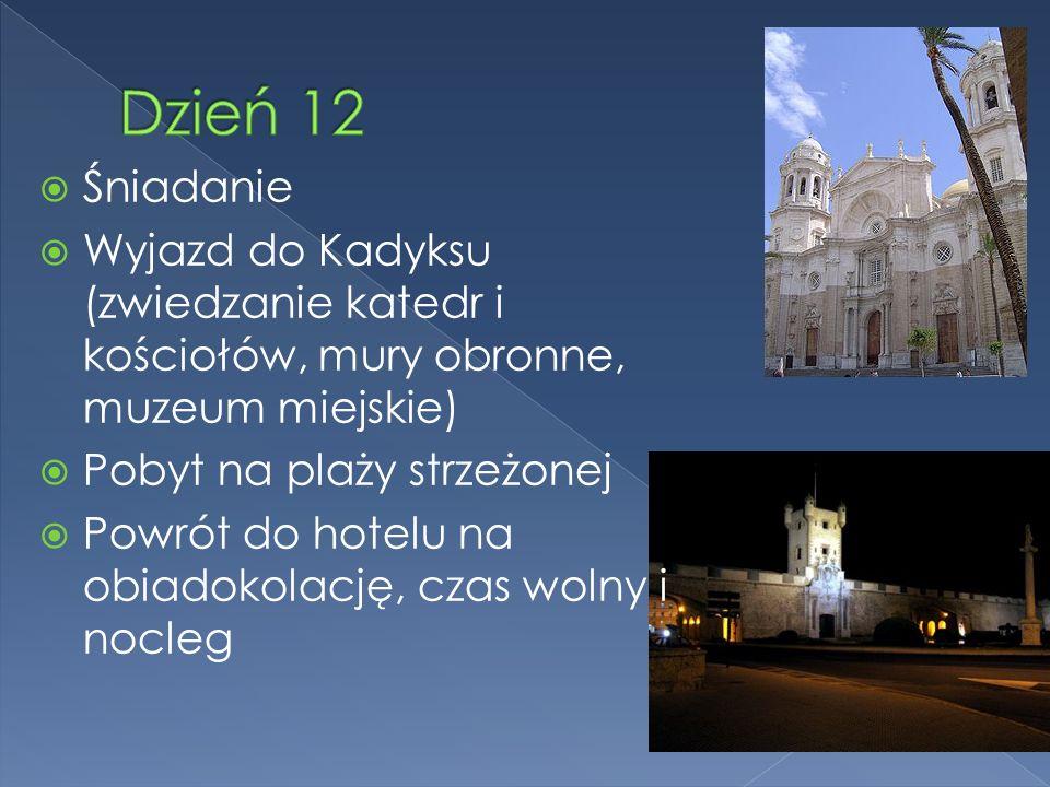 Śniadanie Wyjazd do Kadyksu (zwiedzanie katedr i kościołów, mury obronne, muzeum miejskie) Pobyt na plaży strzeżonej Powrót do hotelu na obiadokolację, czas wolny i nocleg