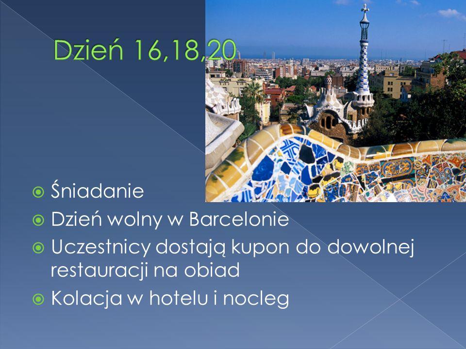 Śniadanie Dzień wolny w Barcelonie Uczestnicy dostają kupon do dowolnej restauracji na obiad Kolacja w hotelu i nocleg