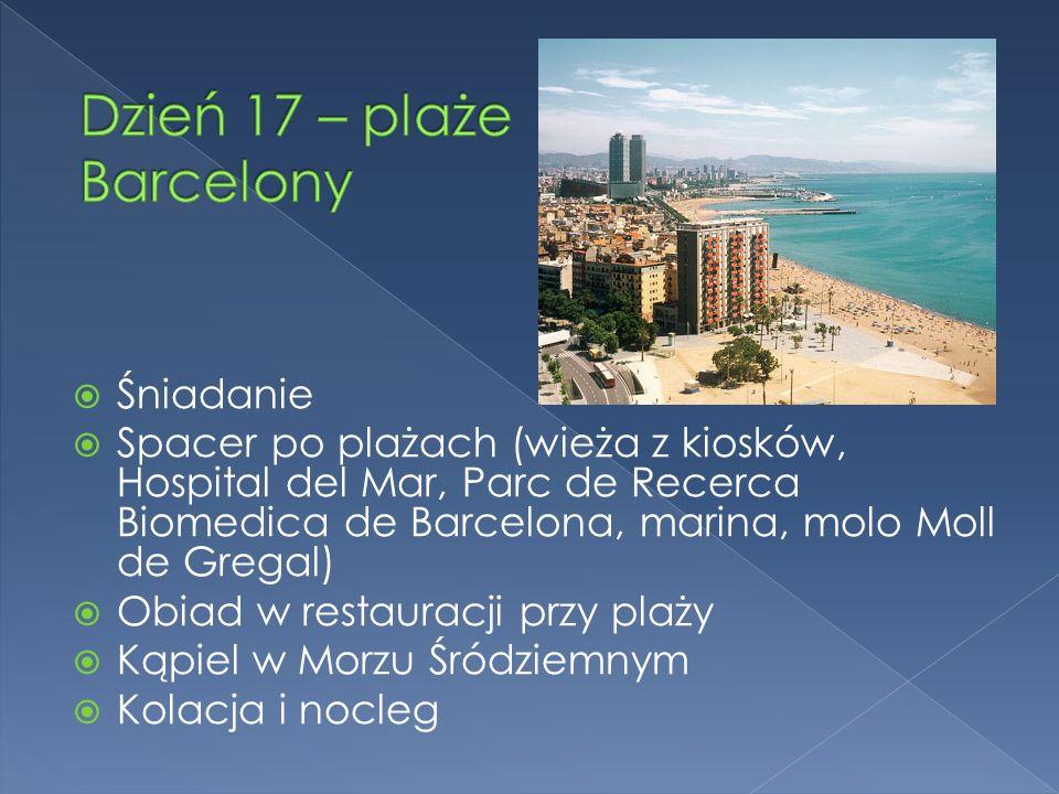 Śniadanie Spacer po plażach (wieża z kiosków, Hospital del Mar, Parc de Recerca Biomedica de Barcelona, marina, molo Moll de Gregal) Obiad w restauracji przy plaży Kąpiel w Morzu Śródziemnym Kolacja i nocleg