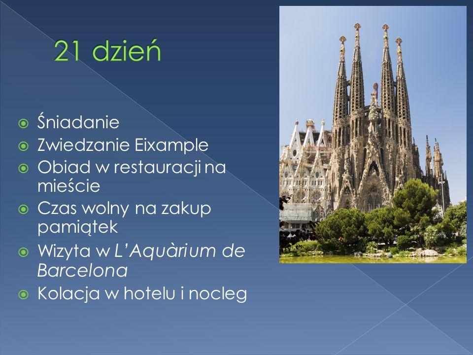 Śniadanie Zwiedzanie Eixample Obiad w restauracji na mieście Czas wolny na zakup pamiątek Wizyta w LAquàrium de Barcelona Kolacja w hotelu i nocleg
